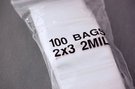 100 Zipper Lock Resealable Baggies 2x3 inches, 2 mil bags bag0009a