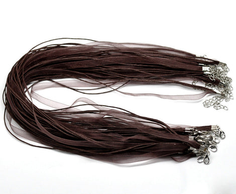 "20 CHOCOLATE BROWN Organza Necklaces with Lobster Clasp . 17.5"" long with 2"" extender chain  fch0054"