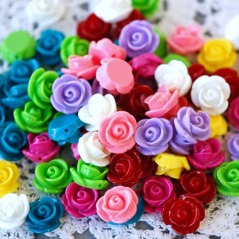 20 Small Resin Rose Beads or Cabochons  13mm diameter  . mixed colors cab0249
