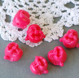 6 Small Buddha Head Beads 13mm  HOT PINK . bac0124