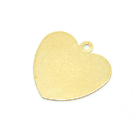 10 Raw Brass Sheet Metal Stamping Blanks, HEART shape, 1 hole, 18x18mm  . 16 gauge . MSB0076