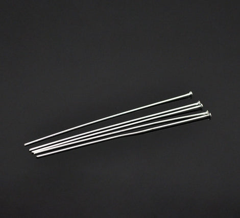 "25 Silver Plated Flat Head Pins . 3-1/8""  long . Pin0039a"