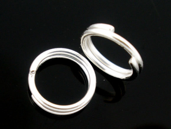 50 Silver Plated Finished Double Loops Split Rings Open Jump Rings 4mm  jum0010a