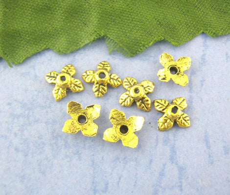 25 Antique Gold 4 Petal Leaves Bead End Caps 6mm  fin0087a