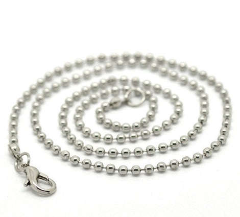 "1 Silver Tone BALL CHAIN Necklace, lobster clasp, 20"" long 2.4mm  fch0032a"