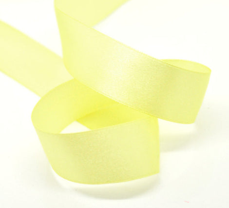 1 inch wide LEMON YELLOW Satin Ribbon for Weddings, Scrapbooking, Jewelry Making, Sewing, Gift Wrap  25 yards rib0059