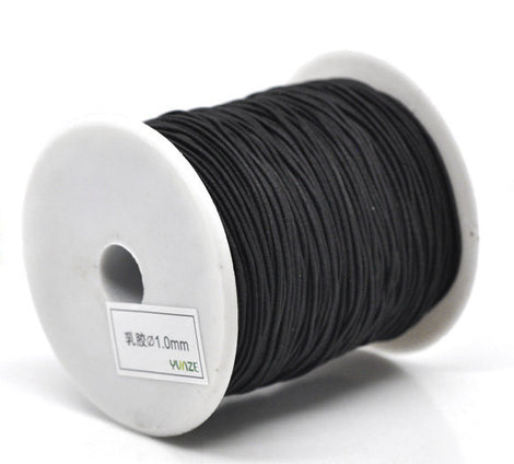 Bulk Roll . 120 Meters JET BLACK Cotton and Elastic Stretchy Cord cor0006