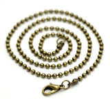 "One Dozen (12) Brass Bronze Tone BALL CHAIN Necklaces, lobster clasp, 20"" long 2.4mm fch0101"