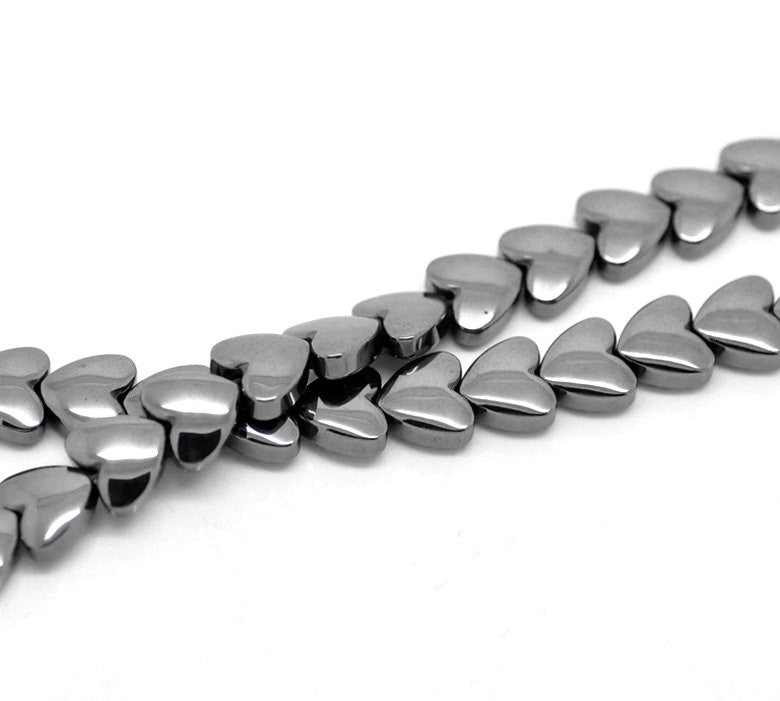 8mm Hematite Heart Beads, Gemstone Hematite Beads, full strand, about 55 beads, ghe0066