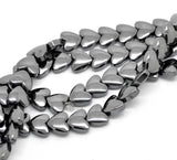 hematite beads, heart beads, gemstone beads