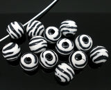 50 Round BLACK and WHITE TIGER or Zebra Striped Beads . acrylic . great for homecoming, spring animal print designs . bac0180