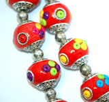 4 Unique Large BRIGHT RED Multicolor Indonesian Clay Beads, Seed Bead and Bali Accents pol0005