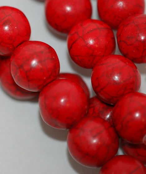1 strand Synthetic Howlite Stone Beads ROUND Ball 8mm, CRIMSON RED how0207