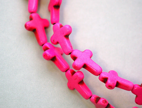 1 Strand, 24 beads . Small Stone Cross Beads in HOT PINK how0136