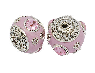 4 Unique Large LIGHT PINK Indonesian Clay Beads, Crystals and Bali Accents pol0077