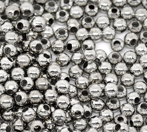 1000 Silver Tone Metal ROUND Spacer Beads 3mm bme0132