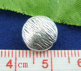 10 Silver Tone Pewter BRUSHED SILVER Circle Saucer Spacer Beads, 10mm  bme0013
