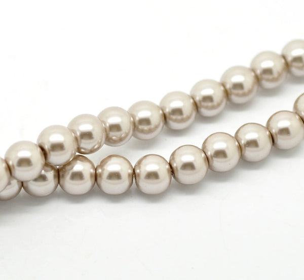 10mm LIGHT MUSHROOM Colored Round Glass Pearl Beads  40 beads  bgl0463