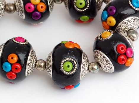 4 Unique Large JET BLACK Multicolor Indonesian Clay Beads, Seed Bead and Bali Accents pol0065