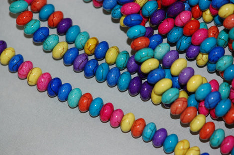 1 Strand Puffed RAINBOW Multi-Colored Howlite RONDELLE Gemstone Beads . 8x5mm how0266