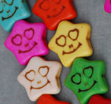 Small Stone Synthetic Howlite Smiling Star Beads 11mm, full strand, 38 beads  HOW0121