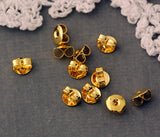 50 Small Butterfly Earring Backs . Bright Gold Metal  fin0297