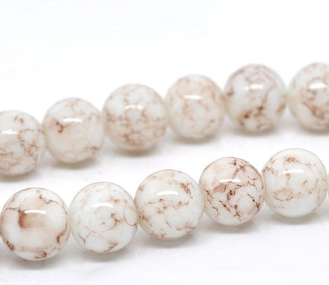 40 Round Glass Beads, white with chocolate brown marbeling, marble pattern, 10mm  bgl0292