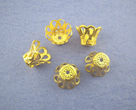 50 Package Small Brass CONE BEAD CAPS . Bright Gold Tone Metal Filigree  7x9mm  fin0089a