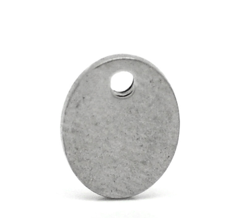 100 Stainless Steel Metal Stamping Blanks Charms, Small OVAL TAGS 7x5mm, 22 gauge  MSB0222