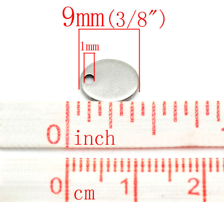 50 Stainless Steel Metal Stamping Blanks Charms, Small 9mm x 7mm OVAL TAGS, 18 gauge  bulk package MSB0089b