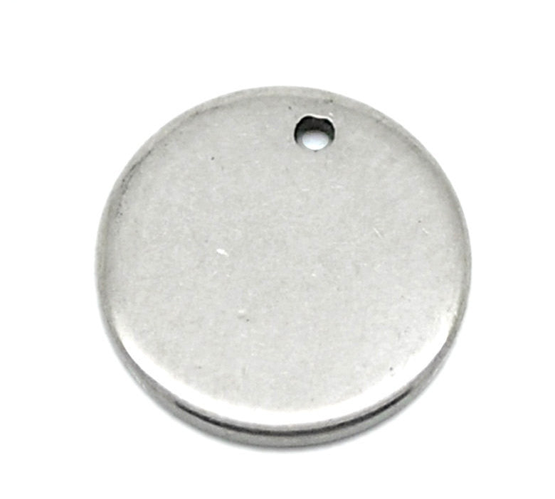 10 Stainless Steel Metal Stamping Blanks Charms ( 10mm ), Small ROUND DISC Tags, 18 gauge  MSB0017a