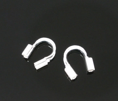 5mm Bright SILVER PLATED Wire Guides, Wire Protectors . Wire Guards . 200 pieces  fin0155b