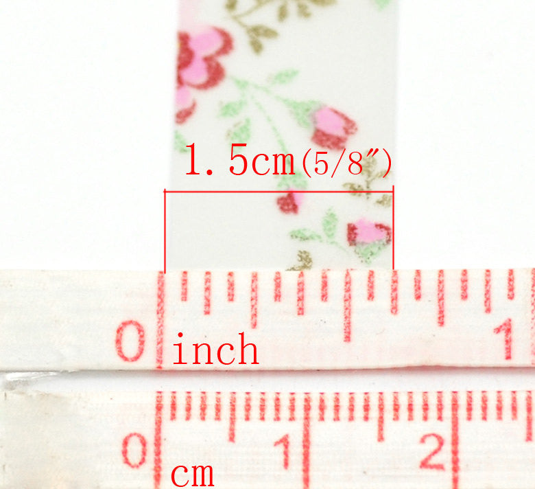Washi Tape Flowers Pastel Floral ( 10 meters )  adh0002