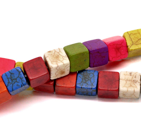 1 strand Howlite Stone Beads SQUARE CUBE 8mm, mixed colors  HOW0115