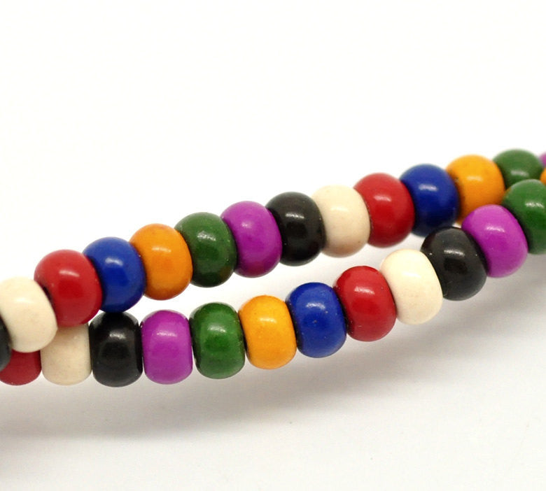 1 Strand Puffed RAINBOW Multi-Colored Howlite RONDELLE Gemstone Beads . 6x4mm how0236