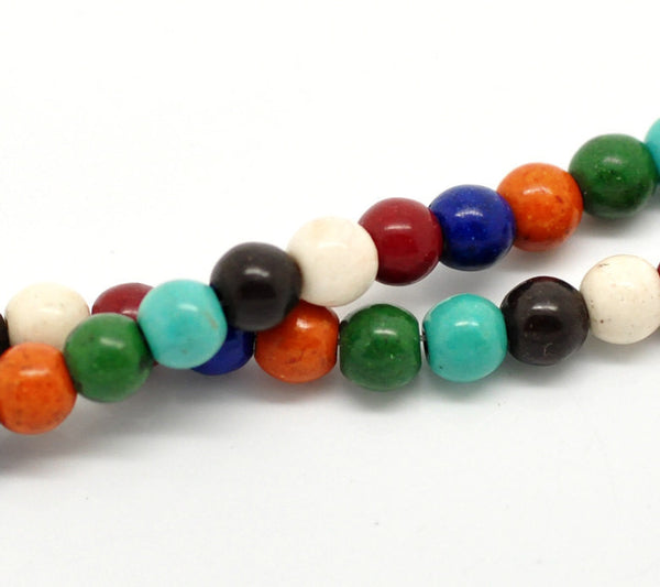 1 strand Synthetic Howlite Stone Beads ROUND BALL 6mm, mixed Autumn colors how0242