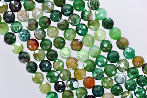 "1 Strand 15.5"" Round Dyed FACETED Mixed Colors EMERALD CITY Green Agate Beads 10mm  Natural Gemstones gag0090"