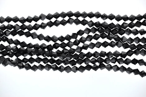 1 Strand JET BLACK non-AB Faceted Bicone Crystal Glass Beads 6 x 6mm  bgl0508