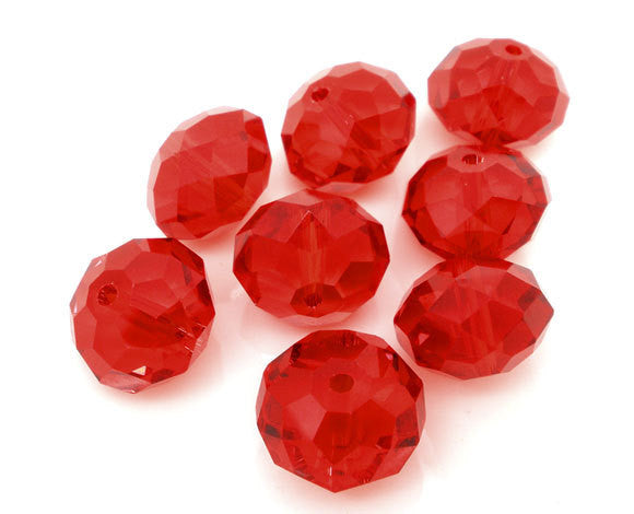 20 CRIMSON RED Crystal Glass Faceted Rondelle Beads . 14mm . bgl0966