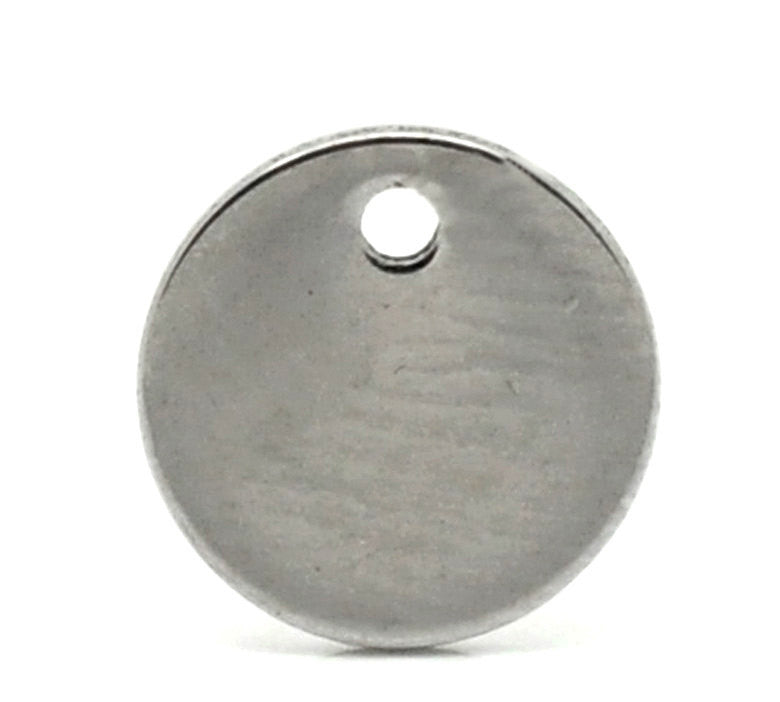 50 Stainless Steel Metal Stamping Blanks Charms ( 8mm ), Small ROUND DISC Tags, 18 gauge  MSB0018b