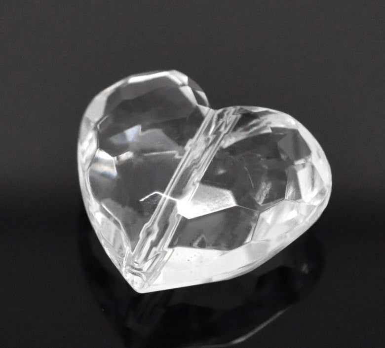 "10 Large CLEAR Faceted Acrylic Lucite Hearts Beads, 1-1/8"" wide  bac0250a"