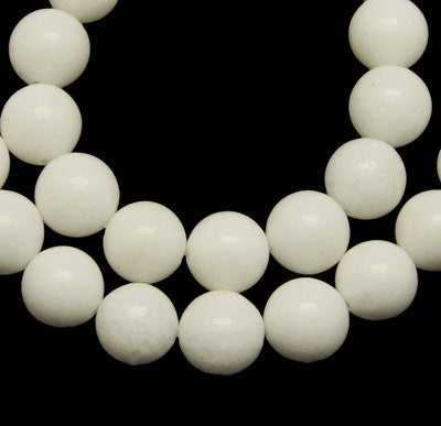 "16"" Strand Dyed Jade Stone 8mm Gemstone Beads approx 50 beads WHITE gjd0042"