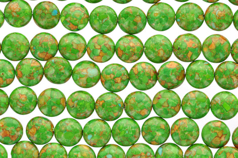 1 strand Magnesite Stone Beads Variegated Puffy GREEN COIN CIRCLE Round . 14mm gmx0005