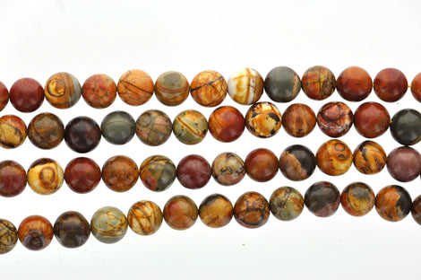 "Half Strand 8"" Round PICASSO JASPER Beads 10mm  Natural Gemstones (20 beads) gja0015"