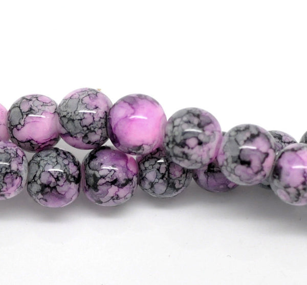 8mm Purple with Black and Grey Marbled Swirl Pattern, Rare, Hard to Find, 50 beads bgl0695