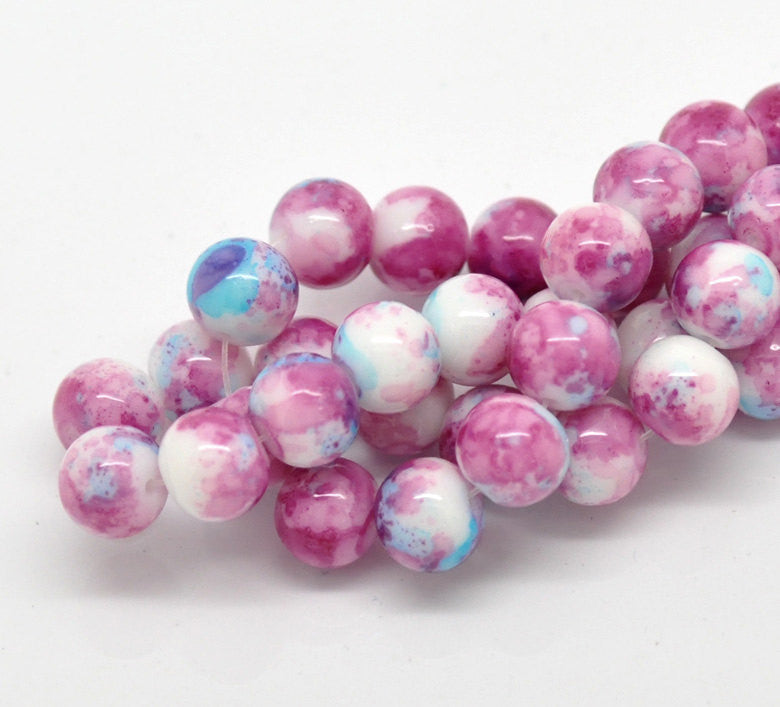 40 Round Glass Beads, white with pink and blue marbeling, marble pattern, 10mm  bgl0689
