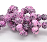 40 Round Glass Beads, White with pink, purple, and black marbeling, marble pattern, 10mm  bgl0291