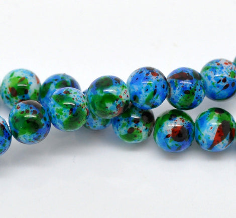 8mm White with Blue, Red, and Green Marbled Swirl Pattern, Rare, Hard to Find, 50 beads bgl0680