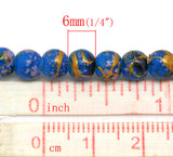 6mm DARK BLUE Glass Beads with Gold, Green, Pink Drizzle Accents, Rare, Hard to Find, 140 beads bgl0674