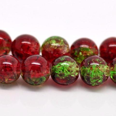 85 Crackle Glass RED and GREEN Round Glass Beads . 10mm . BGL0323